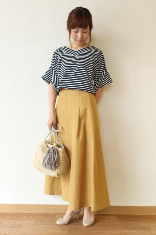 MACPHEE(マカフィー)ポリエステルコットン タックフレアスカート~☆ 画像