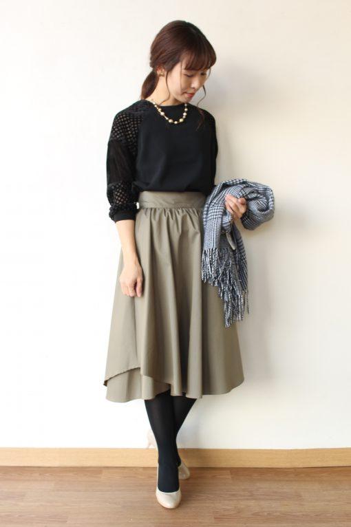 SONO(ソーノ)レイヤードラインギャザースカート&anana(アナナ)シースルー袖切替えカットソー~☆ 画像