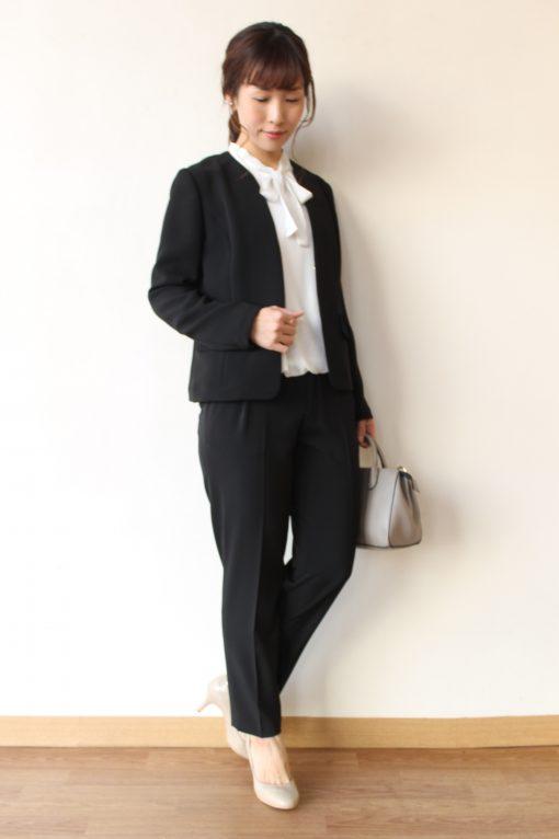 Yangany(ヤンガニー)ノーカラーショートジャケット(セットアップ対応)/ブラック~◎ 画像