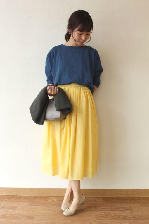 Yangany(ヤンガニー)カラーフレアスカート&Dignite Collier(デニテコリエ)ワッフル素材カットプルオーバー~◎ 画像