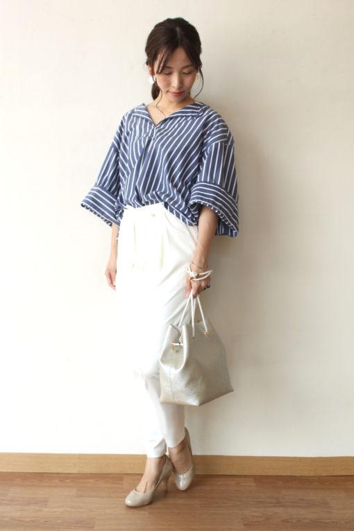 シャンブルドゥシャーム(chambre de charme)iki(イキ)ワイドスリーブストライプシャツ~♪ 画像