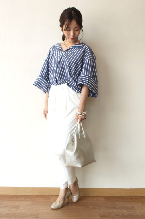 chambre de charme(シャンブルドゥシャーム)iki(イキ)ワイドスリーブストライプシャツ~♪ 画像