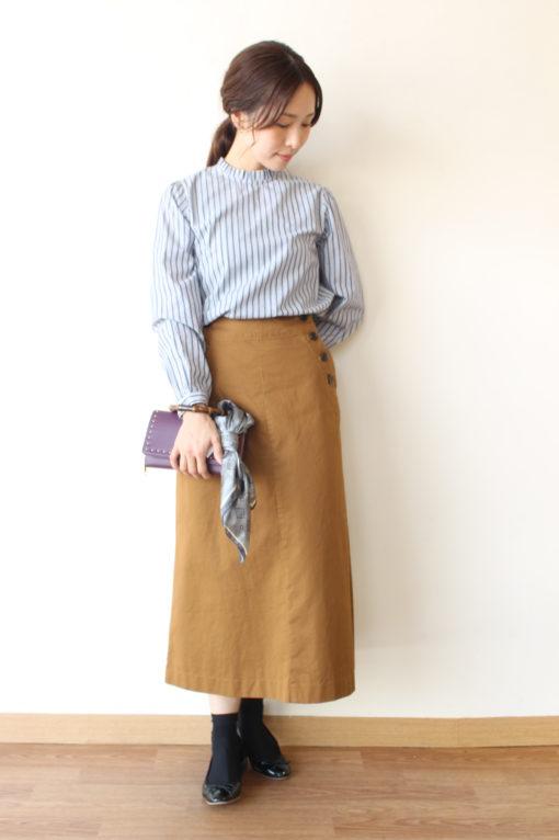 シャンブルドゥシャーム(chambre de charme)コットンストライプ衿フリルシャツ~♪ 画像