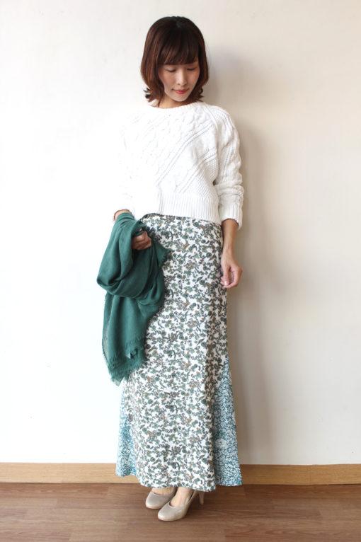 マカフィー(MACPHEE)フラワープリントマーメイドロングスカート&ケーブルクルーネックプルオーバー~♪ 画像