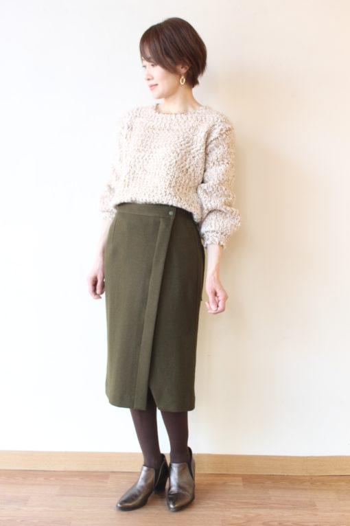 マカフィー(MACPHEE)ウールメルトンジャージー ラップタイトスカート~♪ 画像