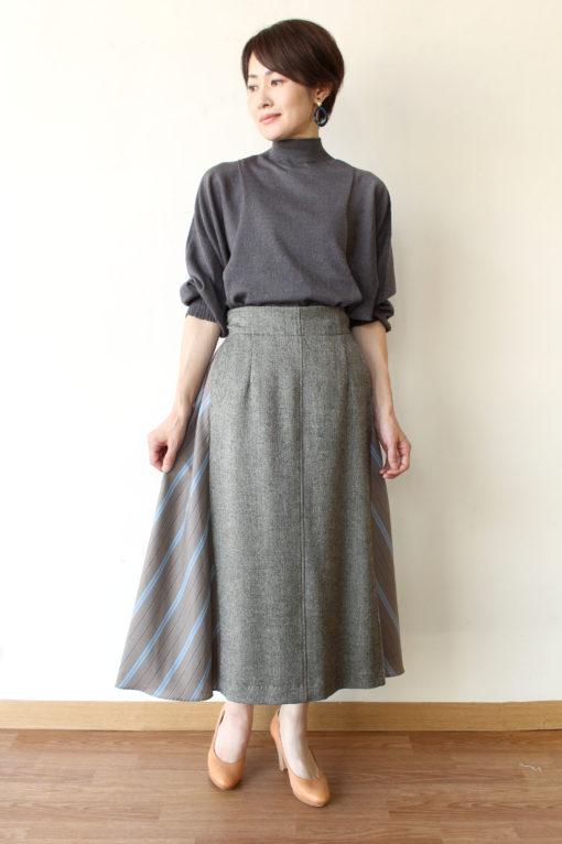 ソーノ(SONO)ドルマンスリーブエアリーニット&ハイブリッドフレアースカート☆ 画像