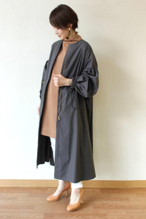 ヤンガニー(Yangany)ウエストドロストギャザーツイルコート~◎ 画像
