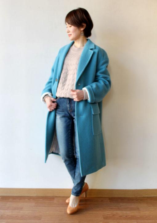 マカフィー(MACPHEE)モヘアメルトンチェスターコート/ブルー~♪ 画像