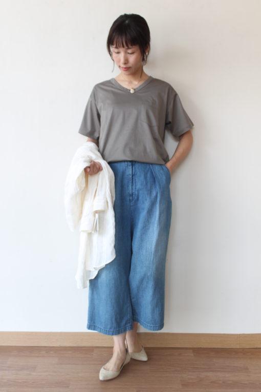 ル・メランジュ(Le Melange)シルケット天竺VネックポケットTシャツ~☆彡 画像