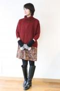 Yangany(ヤンガニー)オフタートル7分袖ケーブル編みセーター
