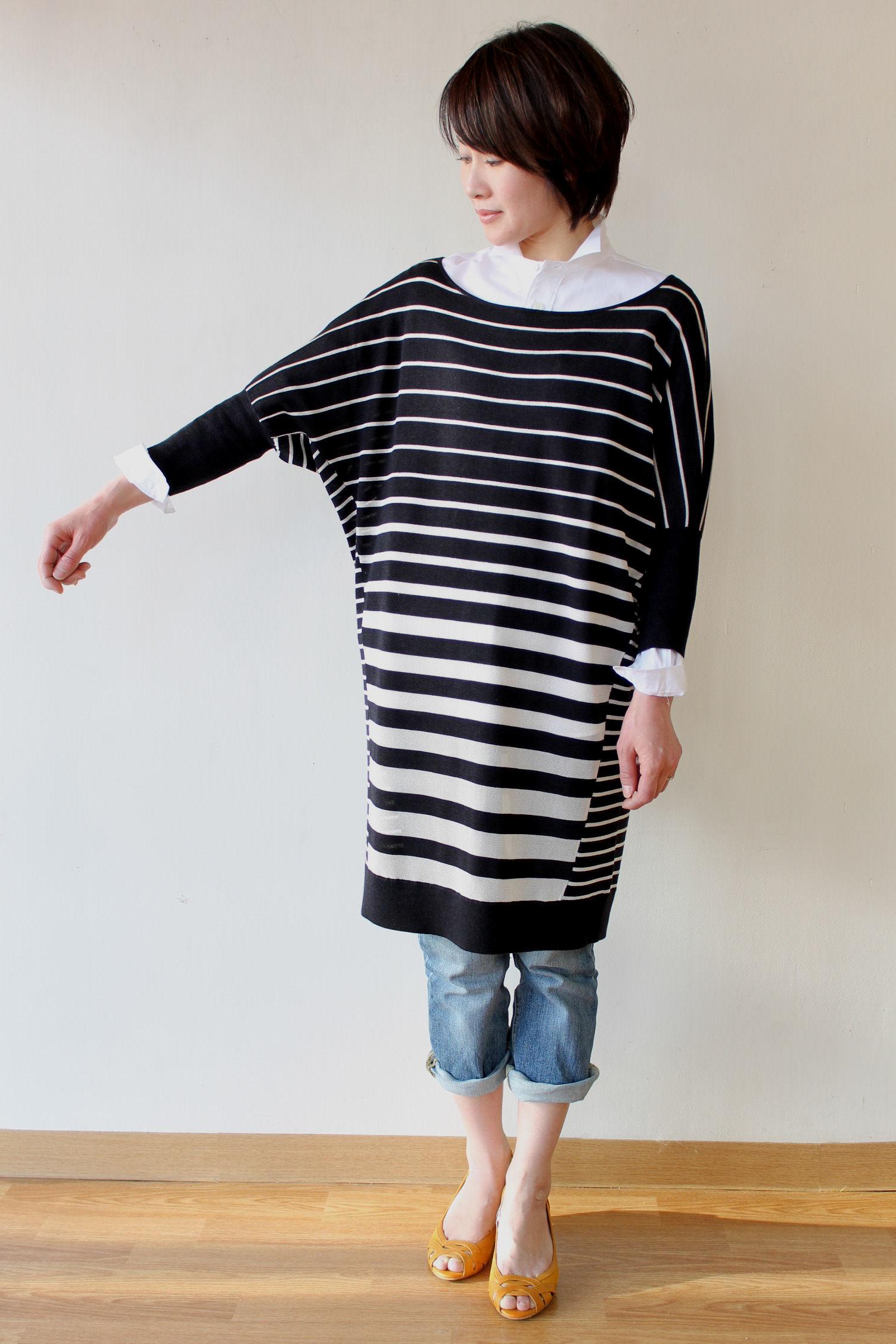 d'un a dix(アナディス)マルチボーダーロング丈セーター
