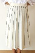 Yangany(ヤンガニー)天竺ストライプミッドカーフスカート/ホワイト