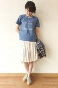 Espeyrac(エスペラック)パール付きプリントTシャツ/ブルー