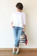 Espeyrac(エスペラック)裾フリル5分袖カットソー/ホワイト