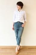 MACPHEE(マカフィー)チェックワイヤーシャツ/ホワイト×グレー