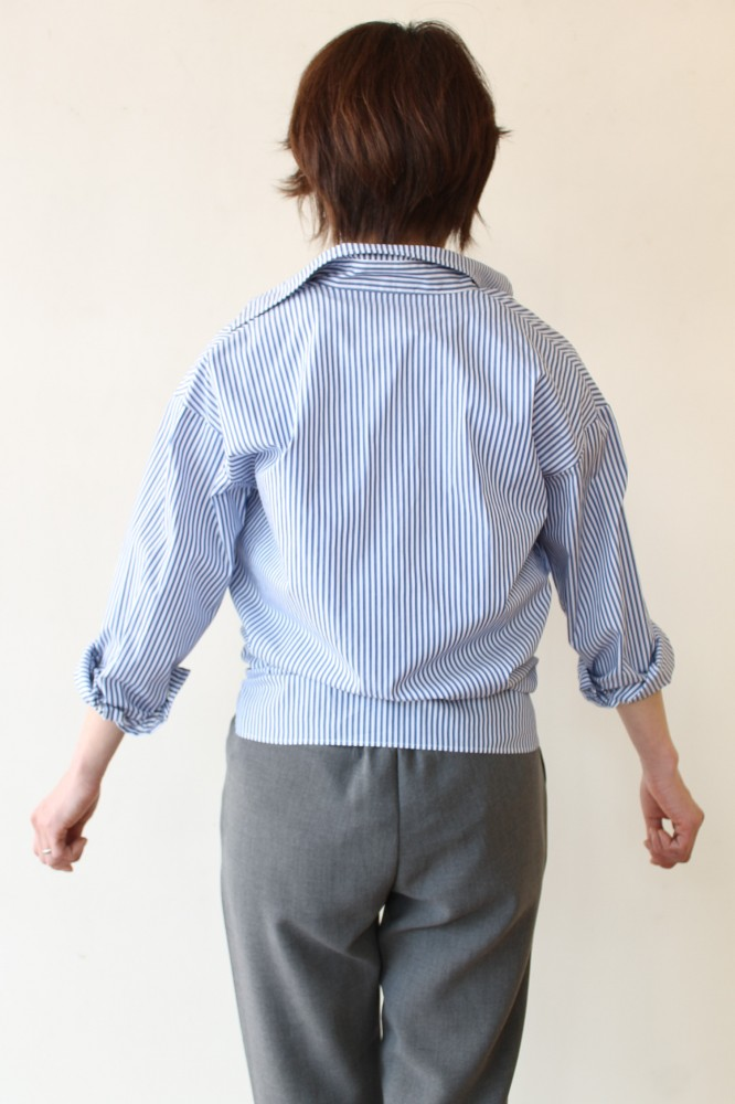 ... anana(アナナ)カシュクールシャツ/ブルーストライプ ...