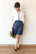 Le Melange(ル・メランジュ)太糸刺繍エスニック風シャツ/ホワイト
