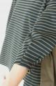 anana(アナナ)へプラムラインボーダー×シャツ地ミックスプルオーバー/カーキ×ブラック