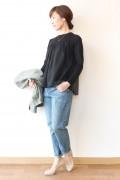 TORRAZZO DONNA(トラッゾドンナ)  シースルー切替セーター/ブラック
