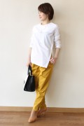 MACPHEE(マカフィー)ノーカラーサイドスリットシャツ/ホワイト