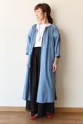 Le Melange(ル・メランジュ)キャンブリックエスニック刺繍ワンピース/ブルー