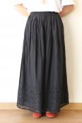 Le Melange(ル・メランジュ)裾カットワークガウチョパンツ/ブラック