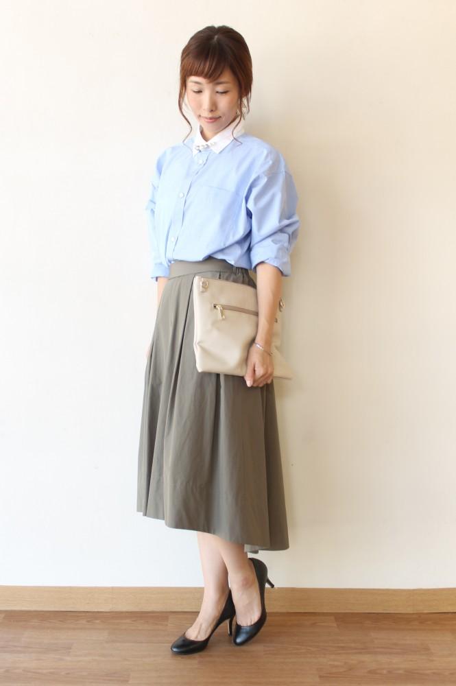 MACPHEE(マカフィー)クレリックワイドシャツ/ブルー