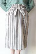 chambre de charme(シャンブルドゥシャーム)ストライプサロン風スカート/ベージュ×ブラウン