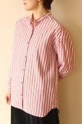 ノンブルアンペール(NOMBRE IMPAIR)レッドストライプスタンドシャツ/アカストライプ