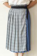 ディニテコリエ(Dignite Collier)チェックプリーツラップスカート/ブルー系