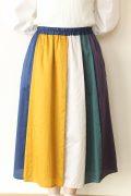フィルデフェール(FIL DE FER)80サテン マルチカラースカート/ブルー系