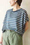 マリードール(MARIED'OR)脇タック後ろストライプフレンチ袖プルオーバー/ブルー×麻色