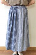 シャンブルドゥシャーム(chambre de charme)ストライプパッチワークギャザースカート/ブルー