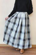 マクルール(ma couleur)オリジナルチェックギャザースカート/ホワイト×ブラック×グリーン