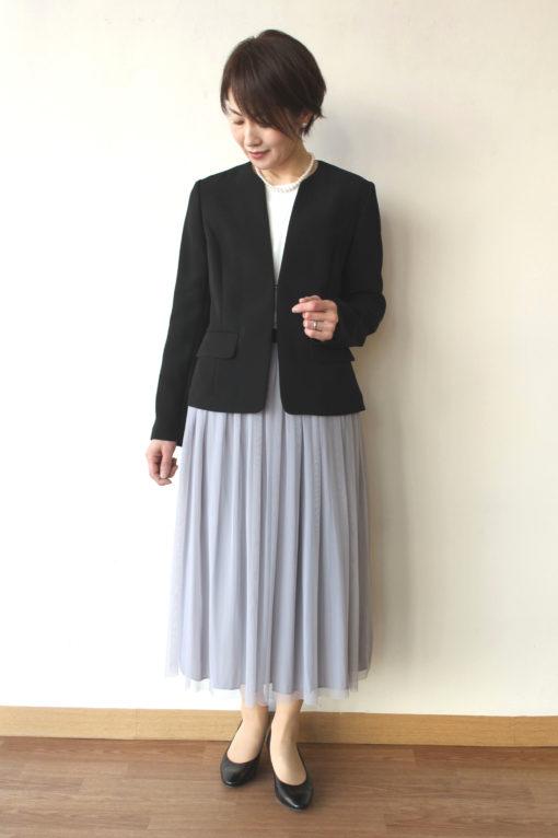 ヤンガニー(Yangany)ノーカラーショートジャケット(セットアップ対応)ブラック~♪ 画像