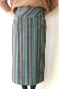 ヤンガニー(Yangany)ツィードマルチストライプロングスカート/グリーン系