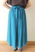 シャンブルドゥシャーム(chambre de charme)ウエストリボンギャザースカート/ブルー